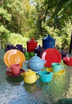 FIESTA CHILDS tea set TEA POT periwinkle CREAM & SUGAR turqu