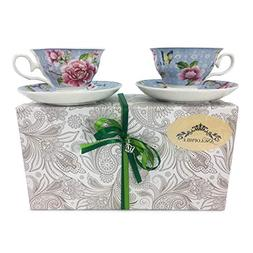 Fine Bone China English Style Pedestal Cup And Saucer Set Of