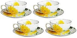 123Arts Fine Bone China Sunflower Vintage Chintz Porcelain C