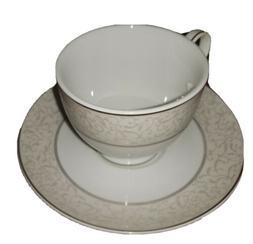 Mikasa Fine China Platinum Parchment Tea Cup & Saucer Set NE