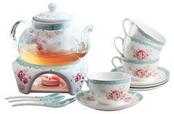 Jusalpha Fine China Vintage Rose Flower Series Coffee Cup-Te