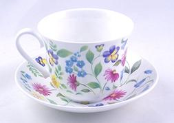 Fine English Bone China Breakfast Cup and Saucer - Summer Fl