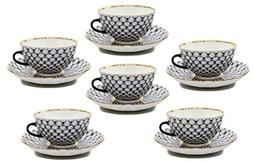 12-Pc. Fine Porcelain Russian Cobalt Blue Net Coffee Tea Cup