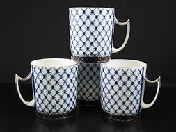 Fine Porcelain Russian Cobalt Blue Net Coffee Mug / Tea Cup,