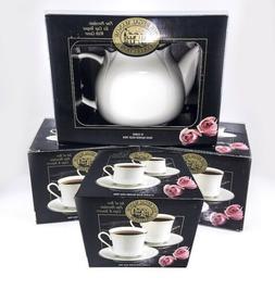 Fine Porcelain Teapot and Tea Cups Saucer Set 24k Banded Gol