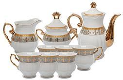 Royalty Porcelain 15pc Fleur-de-Lis Tea Set, Service for 6,