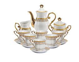Euro Porcelain 17-Pc. Fleur-de-Lis Tea Cup Coffee Set, Premi