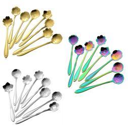 Flower Spoon Set Coffee Mixing Stirring Spoons Teaspoons Fla