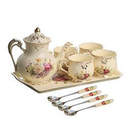 YOLIFE Flowering Shrubs Ivory Ceramic Tea Set,Porcelain Tea