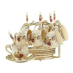 Flowering Shrubs Tea Cups and Saucers Set,Ivory Ceramic Tea