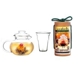 Primula Flowering Tea Set, 40-oz Stove Top Clear Glass Pot K
