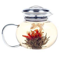 Hiware Large Flowering Teapot Royal 40 Oz, Good Glass Bloomi
