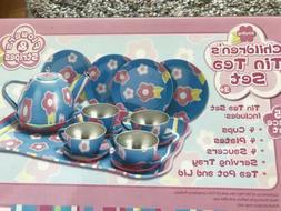 Schylling Flowers & Stripes Child's Tin Tea Set NIB