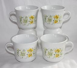 SET OF 6 - Vintage Corning Corelle APRIL Yellow Flowers 8oz