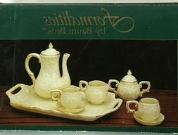 Formalities By Baum Mini Tea Set Ivory and Gold 10 Piece Por