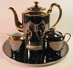 Tea Set, , 4 Pieces, Limoges Porcelain France, Hand-Painted