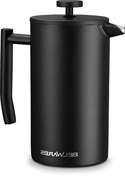 Black Stainless Steel Coffee Press Maker, French Press Coffe
