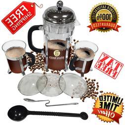 French Press 34oz Tea Coffee Maker Stainless Steel 2 Bonus M