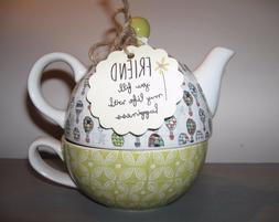 Pavilion Gift Company Friend Ceramic Teapot and Cup for One