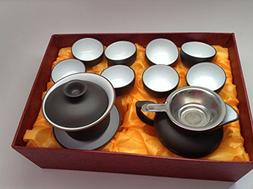 Gaiwan Tea Set with 11pcs with Gift Box Black and White