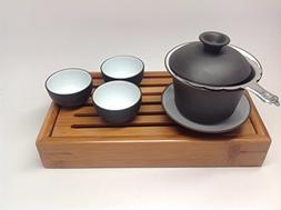 Gaiwan Set with Cups and Stainer and Bamboo Mini Tray