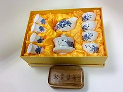 Gaiwan Tea Set with a Very Facy Gift Box B001 Blue and White