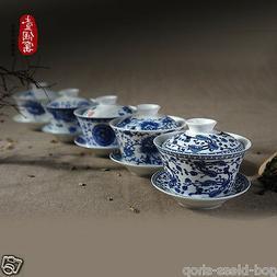 gaiwan tea set porcelain floral blue-and-white china gaiwan