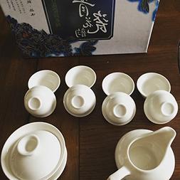 Music City Tea Gaiwan Tea Set Pure White Tea Set 11pcs With