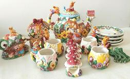 Garden Party Tea Set 20 Pc Bunny Rabbitt