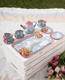 Girls Kid's Tin Tea Set Teapot w/ Lid Plates Saucers Cups Tr