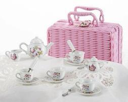 Girls Porcelain Tea Set For 4 Flowers & Butterflies 8088-6