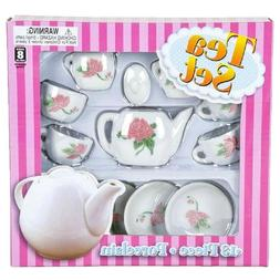 Girls Rose Ceramic Mini Tea Set 13 pc Teapot Teacups Saucers