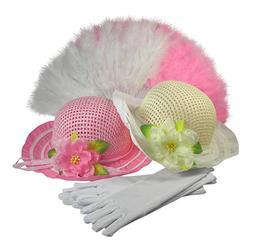 Girls Tea Party Dress Up SET OF 2 Hats Gloves Fans Pink Ivor