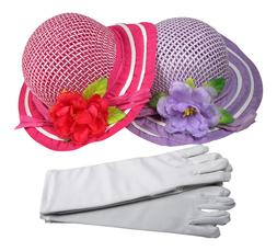 Girls Tea Party Dress Up SET OF 2 Hats Gloves Purple Bright
