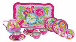 Girls Tea Party Set Garden Toy Play Pretend Pink Kids Party
