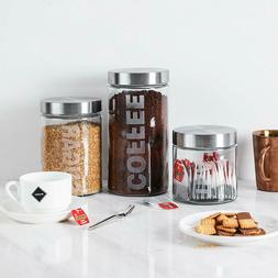Glass Canister Set Stainless Steel Lids Coffee Sugar Tea 3Pc