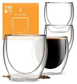 Glass Coffee or Tea Mugs Drinking Glasses Set of 4 - 8oz Dou