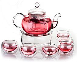 The Sunrise*Glass Filtering Tea Maker Teapot with a Warmer a