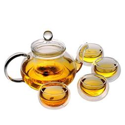 Glass Filtering Tea Maker Teapot with a Warmer and 6 Tea Cup