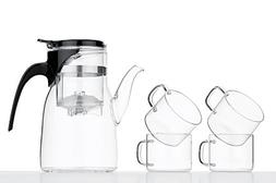 Glass Tea Set For Four 5 pcs Teapot With Infuser Cups Modern