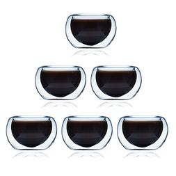 Glass Tea Cup Set of 6 ELITEA Modern Double Wall Insulated T