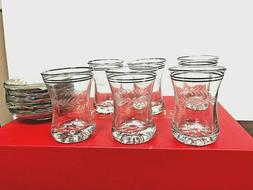 Glass  Tea cup Set of 12 pieces  CLEAR ..with gold rim