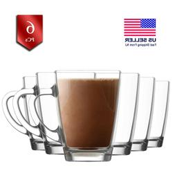 Glass Tea Cups Set with Handle, Clear Coffee Mugs Set of 6,