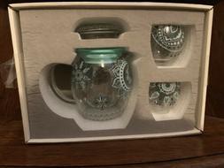 Cypress Home Glass Tea Set with Metallic Accent, Brilliant B