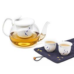 ZENS | Glass Teapot Set | Transparent Glass Teapot with Whit
