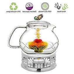 Glass Teapot with Tea Warmer Lead Free Special Glass No Drip