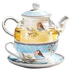 Jusalpha Glass Teapot with a Fine China Infuser Strainer, Cu