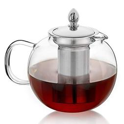 Hiware Glass Teapot with Removable Infuser, 45oz Blooming an