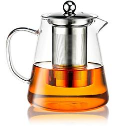Premium Glass Teapot with Stainless Steel Removable Infuser