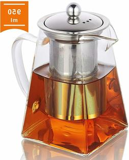 Glass Teapot with Infuser, 950ml/32oz Clear High Borosilicat